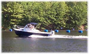 Custom built boat, Eastern 22 footer with hard chine on Nashua River
